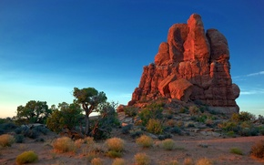 Picture the sky, trees, sunset, rock, desert, mountain