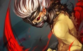 Picture red, eyes, castle, mask, art, guy, Tokyo Ghoul, Ken Kanek, Tokyo ghoul, Tokyo monster