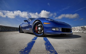 Wallpaper Chevrolet, blue, Z06, Corvette