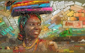 Picture mosaic, background, Africa, illustration
