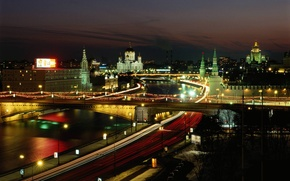 Picture night, lights, Moscow, temple, the Moscow river