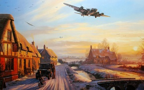 Picture figure, art, bombers, b-17, nicolas trudgian, A Welcome At The Inn