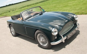 Picture road, field, Aston Martin, green, classic, the front, 1957, DB2/4, Drophead Coupe, Aston Martin.ДБ2/4