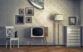 Picture Wallpaper, lamp, TV, chair, pictures, table, apartment, Interior