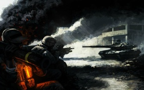Wallpaper light, ash, weapons, smoke, the building, art, soldiers, tank, infantry