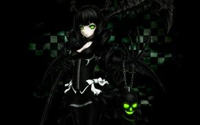 Picture girl, the inscription, skull, chain, claws, horns, bow, black rock shooter, green eyes, dead master, …