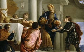 Wallpaper picture, history, mythology, Art Conveys to the Priest the Bread and the Sword of David, ...