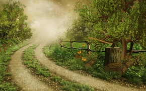 Picture logs, axe, nature, fog, road, trees, figure, the fence, butterfly, glare, grass, forest