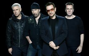 Picture group, Edge, rock, Evans, Clayton, Mullen, Jr., Bono, Hewson