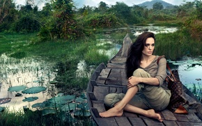 Wallpaper boat, angelina jolie, sitting, swamp