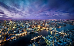 Picture bridge, the city, lights, river, London, the evening