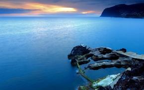 Wallpaper sea, Portugal, rocks, sunset