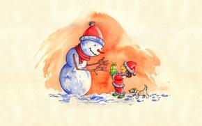 Wallpaper new year, winter, snowmen, children, art