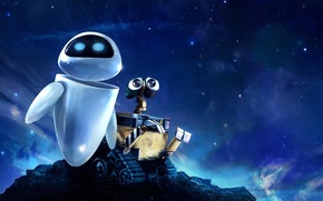 Picture the sky, look, stars, wall-e, eva