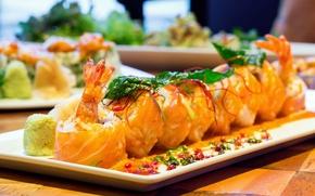Picture algae, fish, figure, sushi, rolls, shrimp, Japanese cuisine, seasoning