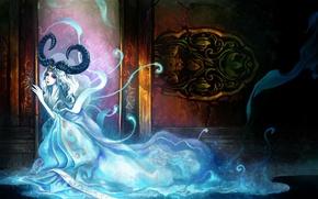 Picture girl, dress, the demon, art, horns