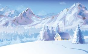 Picture snow, trees, mountains, smoke, Winter, house
