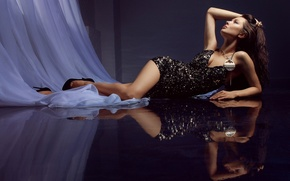 Picture girl, reflection, dress, floor