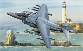 Picture war, art, airplane, painting, aviation, ww2, Hawker Harrier Jump Jet