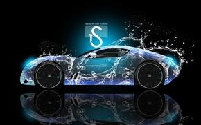 Picture Bugatti, Blue, Water, Neon, el Tony Cars, Gangloff