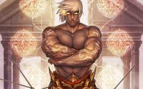Picture look, magic, tattoo, MAG, male, white hair, art, muscles