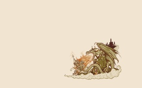 Picture dragon, knight, girl, background, tale, castle