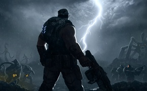 Picture clouds, rain, lightning, monsters, Gears of War, Marcus Fenix