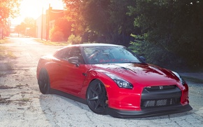 Picture trees, sunset, red, the evening, nissan, red, Nissan, gtr, gtr, r35