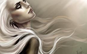 Picture girl, earrings, art, white hair