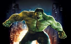 Wallpaper 2008, City, Light, Action, Fantasy, Edward Norton, Fire, Hulk, Flame, Darkness, Green, Body, The, Big, ...