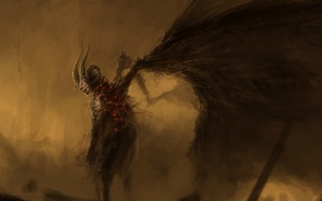 Picture wings, the demon, horns, the devil, fallen, hell