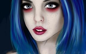 Picture girl, art, girl, art, blue hair, blue hair