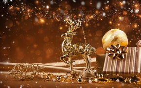 Picture decoration, lights, lights, new year, new year, decoration, ornaments, Reindeer, Golden Christmas, reindeer, Golden Christmas