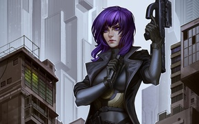 Picture girl, art, machine, cyborg, Ghost in the Shell, Kusanagi Automotive