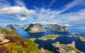 Picture The Lofoten Islands, Lofoten, the view from the top, mountains, home, panorama, coast, sea, Norway, ...