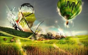 Picture flight, joy, bright, lights, balloon, travel, experience