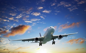 Picture passenger, in the sky, the rise, the plane, airliner, flight, the sun, clouds