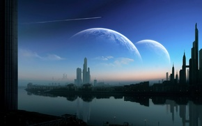 Picture the sky, water, clouds, house, river, planet, The city