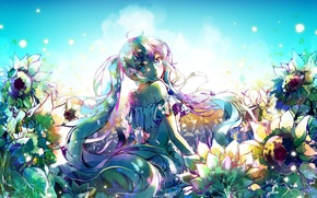 Picture the sky, girl, the sun, clouds, flowers, smile, anime, art, vocaloid, hatsune miku, ottmi