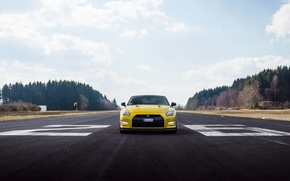 Picture the sky, clouds, lights, Nissan, GT-R, front, runway