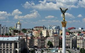 Picture UKRAINE, STATUE, The SKY, CLOUDS, BUILDING, AREA, KIEV, INDEPENDENCE, COLUMN, CAPITAL