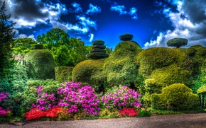 Picture the sky, clouds, trees, flowers, design, Park, England, the bushes, Tatton Park