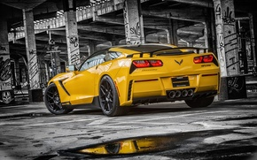 Picture Corvette, Chevrolet, Muscle, Car, Yellow, Stingray, Rear, HPE700, 2015, Ruffer
