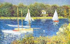 Picture sail, landscape, river, The Seine at Argenteuil, boat, picture, Claude Monet