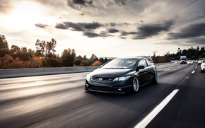 Picture road, black, honda, black, Honda, civic, civic, stance