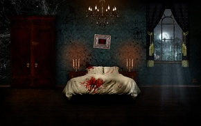 Picture night, house, fear, the moon, horror, house, night, horor