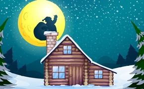 Picture graphics, snow, tree, Santa Claus, tree, moon, Chimney, fireplace, graphic, vector, snow, vector, Christmas, house, ...