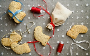 Picture holiday, new year, Christmas, cookies, sweets, bows, bag, Christmas