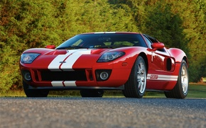 Picture Ford, Red, road, Stripes, GT