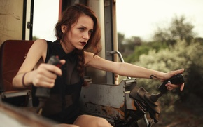 Picture girl, woman, model, tattoo, drive, tractor, female, cabin, Jacquie Glover, levers
